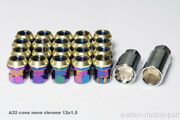 Neon Chrome Cone Seat Nuts 16pcs + 4 Lock Special M12 X 1.5 For Toyota Crown A32