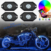 4pcs Motorcycle Rgb Led Neon Under Glow Strobe Lights For Harley Multi-color