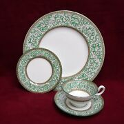 Wedgwood China Praze Green W2785 4-piece Place Setting - Cup Saucer Dinner Bread