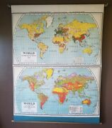 Antique 1920 Nystrom Atwood World Wall Map Population And Occupation 70x54 Huge