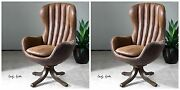 Two Mid Century Style Swivel High Back Accent Club Chair Faux Leather And Suede