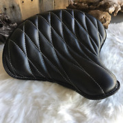 Black Leather Tractor Spring Solo Motorcycle Seat By Rich Phillips Leather Usa