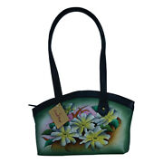 Swank Bags Hand Painted Leather Tote With Black Trim - Earthtone Flowers Sb076-6