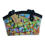 Swank Bags Hand Painted Leather Tote W/ Black Trim - Abstract Pattern Sb076-3