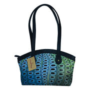 Swank Bags Hand Painted Leather Tote W/ Black Trim - Abstract Pattern Sb076-2