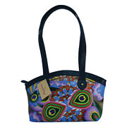 Swank Bags Hand Painted Leather Tote W/ Black Trim - Abstract Pattern Sb076-4