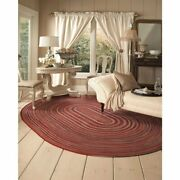 Capel Rugs Portland Wool Casual Country Braided Oval Area Rug Red 500