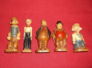 5 Rare 1944 King Features Syroco Statues Popeye, Dagwood, Barney,jiggs,and Wimp