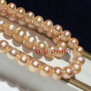Long Aaaaa 4812-13mm Real Natural South Sea Gold Pink Pearl Necklace 14k Gold