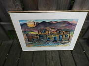 Signed Snyder Abstract Watercolor Architectural Landscape Painting Intnl Sale
