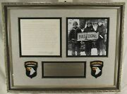 General Anthony And039and039nutsand039and039 Mcauliffe 101st Airborne Bastogne Signed Letter Display