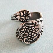Vintage Style Silver Plated Floral Spoon Ring Sizes 6- 10 Adjustable Rings