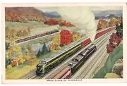 Main Lines Of Commerce Pennsylvania Railroad Speed And Security Postcard Train