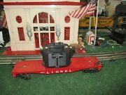Lionel Post War 6818 Red Flat Car With Transformer Vg Cond 1958