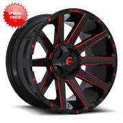 Fuel Contra D643 24x12 6x135/6x139.7 Et-44 Gloss Black With Candy Red Qty Of 4