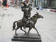 21.5 Western Pure Bronze Marble Art Ride Horse Man Hold Falcon Eagle Sculpture