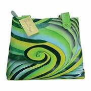 Swank Bags Hand-made And Painted Abstract Swirl Leather Tote Bag Sb069-4