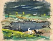 Horses And People Near A Lake-oil Painting On Paper Board-1930s/40s-louis Bosa