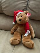 1997 Holiday Teddy Plush Christmas Hat And Scarf Ty Beanie Buddy 14in Bear 9426