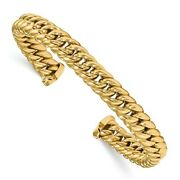 14 Kt Yellow Gold Wide Thick Cable Link Style Bangle Bracelet Heavy New Cuff