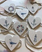 Nautical Bunting Garland Shabby Chic Real Wood Hearts Rustic Twine Anchor 7ft
