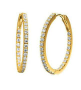 2.70ct Round Diamond 14k Solid Yellow Gold Hoops Earring Snap Closure