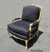 Vintage French Country Black Floral Accent Chair By Baker Furniture Co.
