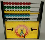 Mid Century Brio Wooden Abacus And Clock Calendar Educational Toy 1960and039s Sweden