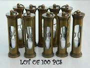 Collectible Lot Of 100 Pcs Antique Brass Sand Timer Handmade