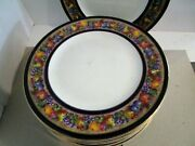12 Baker And Co England 11 Dinner Plates-1930and039s-fruit Wreath Between Cobalt Bands