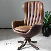 Garrett Swivel Mid Century Modern High Back Accent Chair Faux Leather Suede