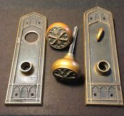 Antique Corbin Collectible Solid Bronze Entry Doorknob Set- And Backplates