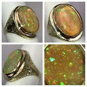 New Sparkling 4.64ct White Fire Opal Cabochon + 14k Gold Cocktail Ring Size 6.5