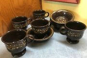 Vintage Franciscan Ware Brown And Gold Scroll Jamoca 5 Coffee Mugs And 5 Berry Bowls