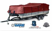 Wake Monsoon Premium Pontoon Boat Cover Fits 17-20 Ft Red
