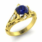 Certified 1.11 Ct Sapphire And Diamond 14k Yellow Gold Vintage Inspire Ring