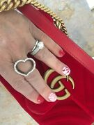 Custom 14 Kt White Gold And Diamonds Large Heart Wide Design Right Hand Band Ring