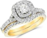 1.12ct Diamond 14kt Yellow Gold 3d Round Double Halo Engagement Wedding Ring Set