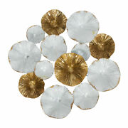 Shell Shaped Gold And White Metal Round Disc Wall Art Feature Distressed 40cm
