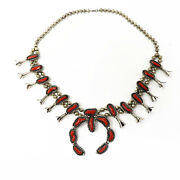 Nyjewel Large Antique 925 Sterling Silver Navajo Squash Blossom Coral Necklace