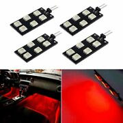 4pcs Red 6-smd Led Car Interior Footwell Lights Bulbs For Audi 2008-15 A4 S4 B8