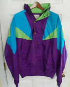 Vintage 90's Neon Colorblock Nylon Jacket Beefeater Club Mens L/xl Pullover