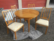 Mid-century Asian Inspired 8 Pc Dining Set,table, 5 Chairs, China Cab And Buffet