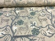Cortan And Tout - Deers And Trees Embroidered On Light Beige Linen - 10 Yards Lot
