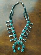 Rare Old Pawn Navajo Turquoise Squash Blossom Sterling Necklace Signed