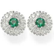 1.85ct. Emerald And Diamond 14k White Gold Russian Style Earrings