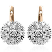 Russian Malinka Diamond Earrings 14k Solid Rose And White Gold 1.44 Cwt