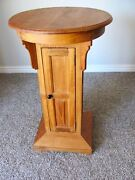 Vintage Handmade Craftsman Style Round Side Table With Door+ Shelves Solid Wood