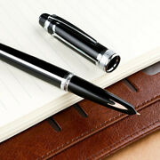 Hero 100 14k Gold Fountain Pen Fully Metal Arrow Mark Silver Lines With Clip