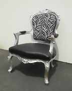 Large Vintage French Provincial Zebra And Ostrich Print Silver Accent Chair
